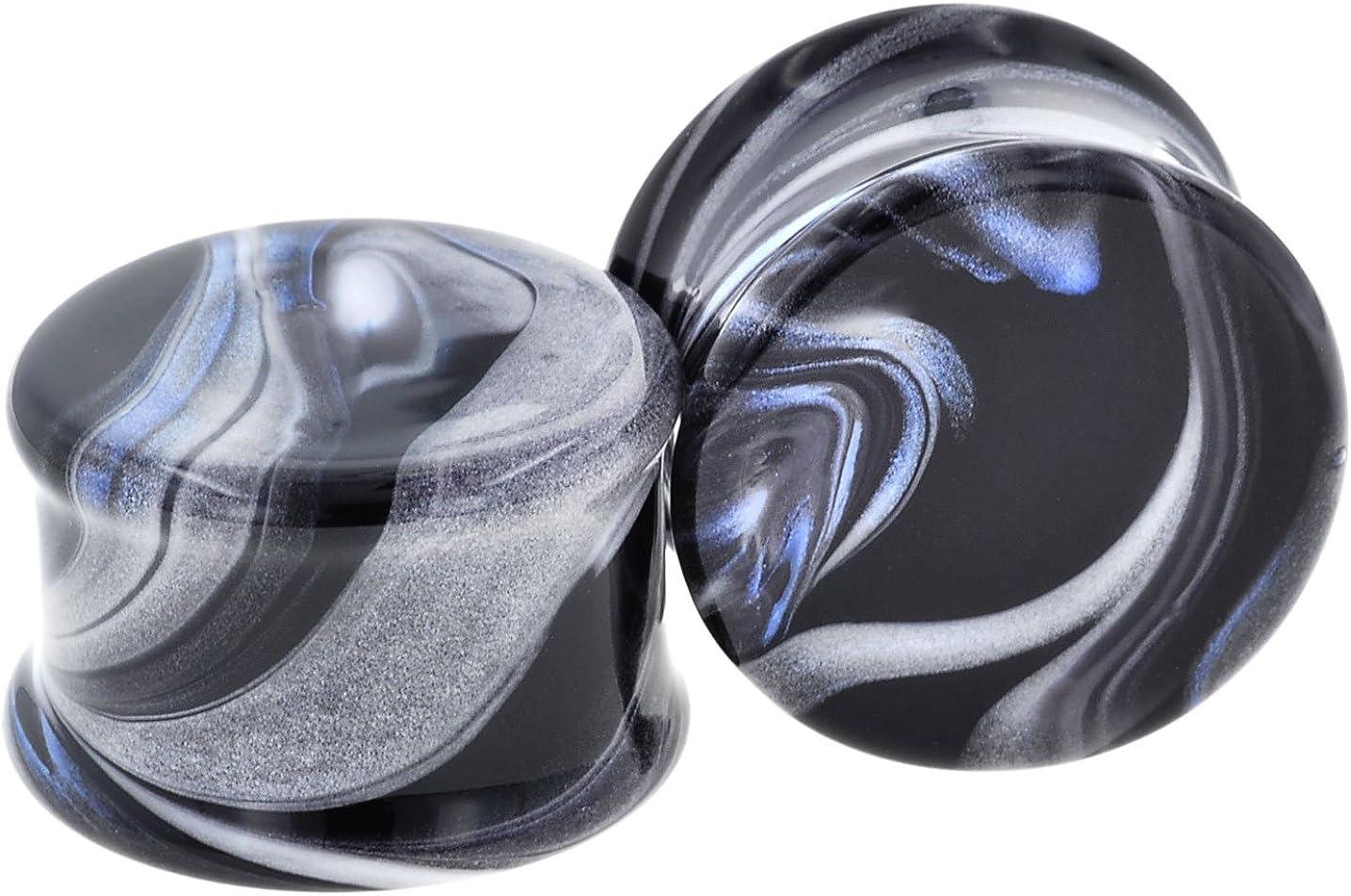 9//16 Black//White Pair of Glass Double Flared Borostone Plugs