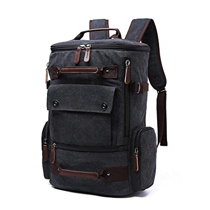 Image Unavailable. Image not available for. Colour  Fur Jaden Black Canvas  Travel Backpack ... b1d1d842ff459