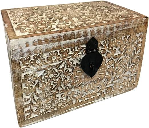 Zen et Ethnique - Caja de Madera Tallada (diseño Floral Indio, 21 ...