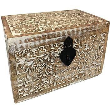 Zen y étnico Caja Madera Tallada,