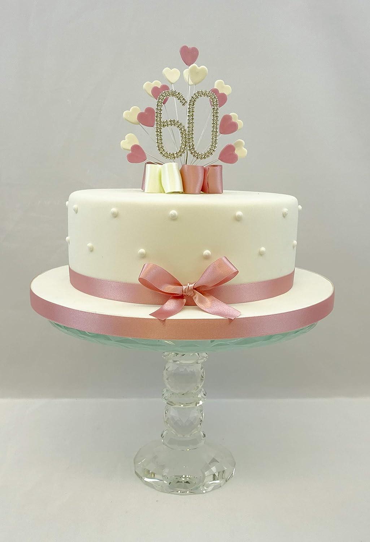 Torta Compleanno 60.Cake Toppers Decorazione Per Torta A Forma Di Cuore Con Scoppio Spray 60 Compleanno Colore Rosa Amazon It Casa E Cucina