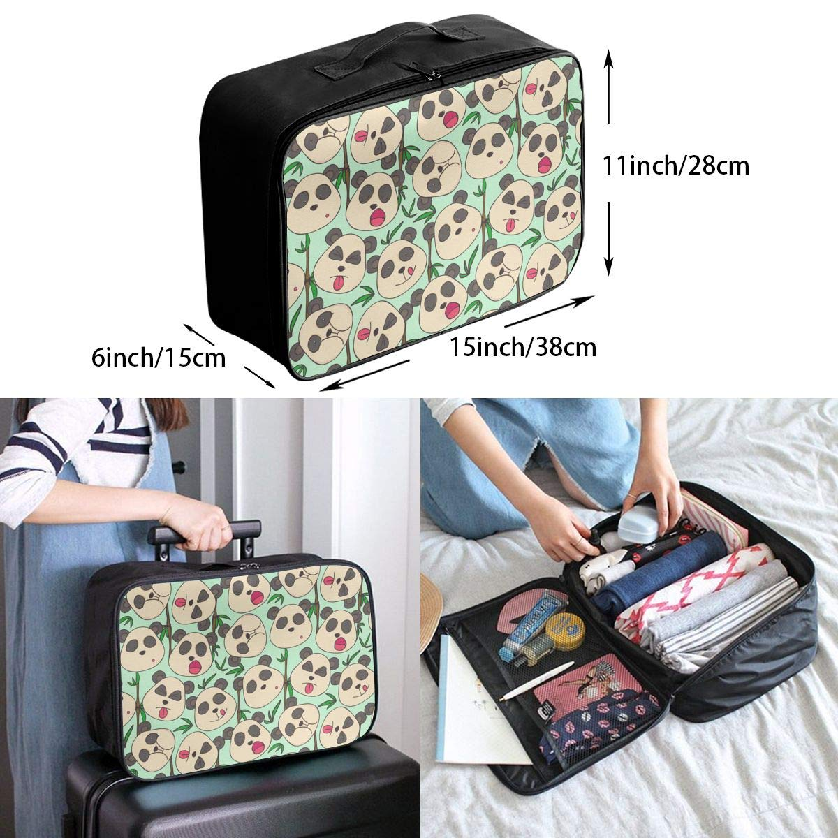 Travel Duffel Bag Waterproof Fashion Lightweight Large Capacity Portable Luggage Bag White And Black Panda Patterns Green Bamboo