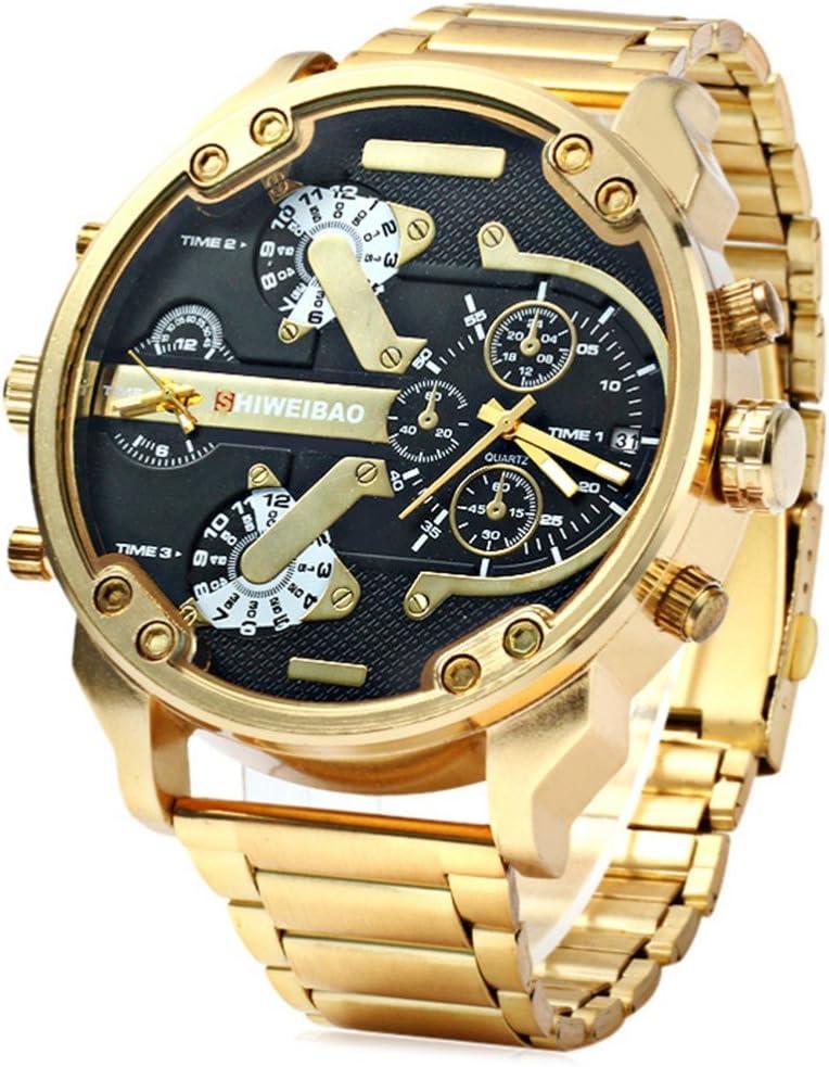 fenkoo Hombre Militar Reloj Quartz Calendario/Tiempo Dual Zonas Acero Inoxidable Banda Reloj de Pulsera Oro