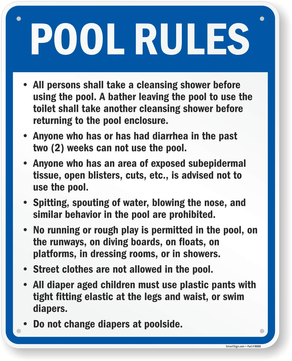 Indiana Pool Rules Sign, 30'' x 24'' by SmartSign