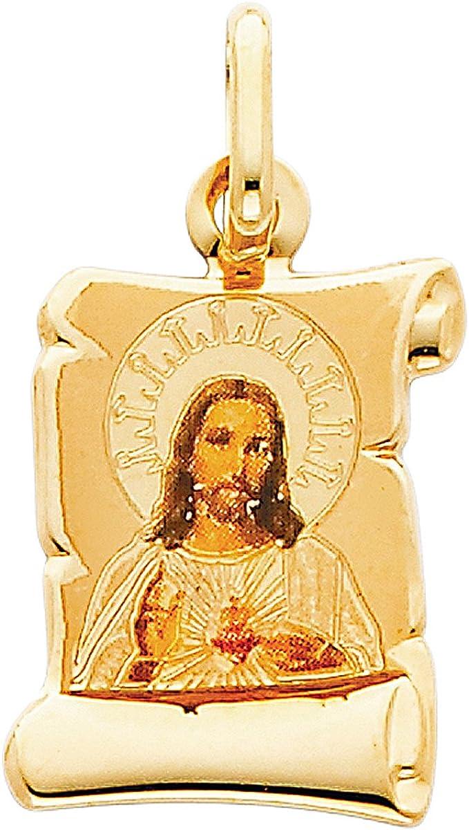 Colgante de oro amarillo de 14 quilates con diseño de corazón de Jesús esmaltado, para adolescentes, niñas, mujeres, día de la madre, joyería de regalo, colgante o joyería religiosa para mamá