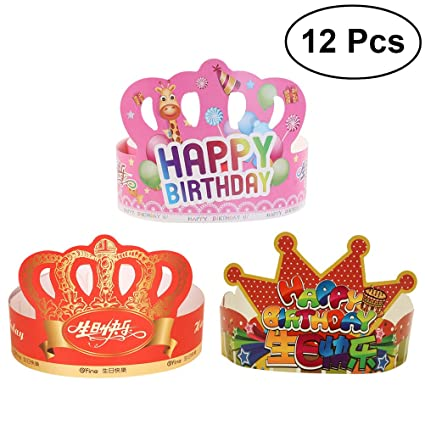 toyvian 12 pcs birthday crown hats happy birthday letter paper tiara crown party supplies for kids