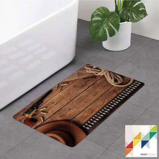 Famous Western Cowboy Elements Non Slip Shower Rug Carpet Bath Mat Door Mat New