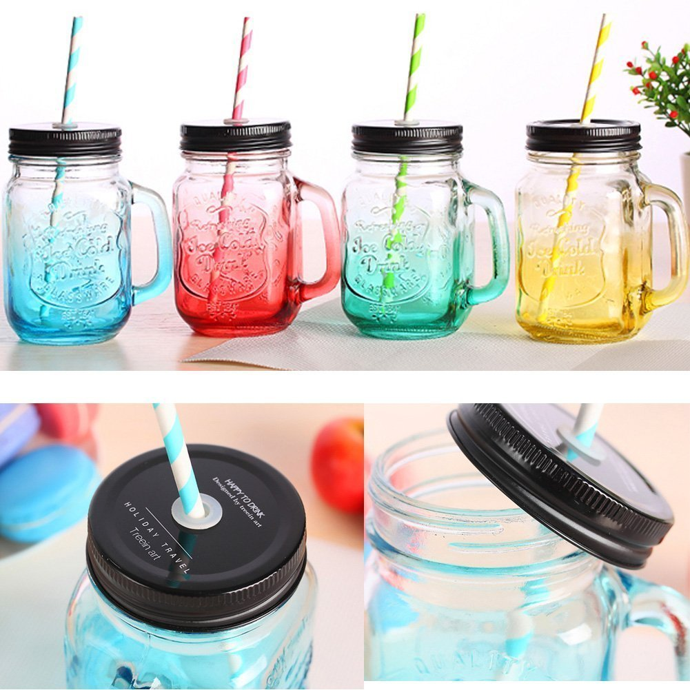 3D Vintage Mason Jar Mugs with Lid & Straw 17 oz - Set of 4 by Aihesui