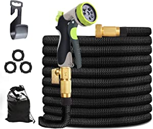 "Expandable Garden Hose 100ft, Ligthweight Garden Hose with 8 Way Metal Sprayer, Adjustable Garden Hose with 3-Layers Latex Core, 3/4"" Solid Brass Fittings, Premium 37502D Fabric"