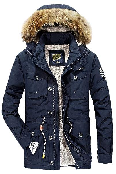599a3ab76020 Mr.Stream Parka cappotto invernale da uomo con colletto cappuccio pelliccia  Giacca con Vello Interno