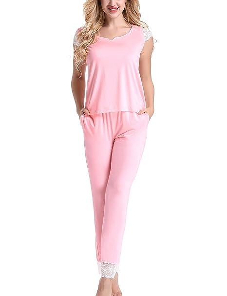 b43573c40 Yulee Womens Lace Trim Short Sleeve Pajama Set with Long Pants Pink ...