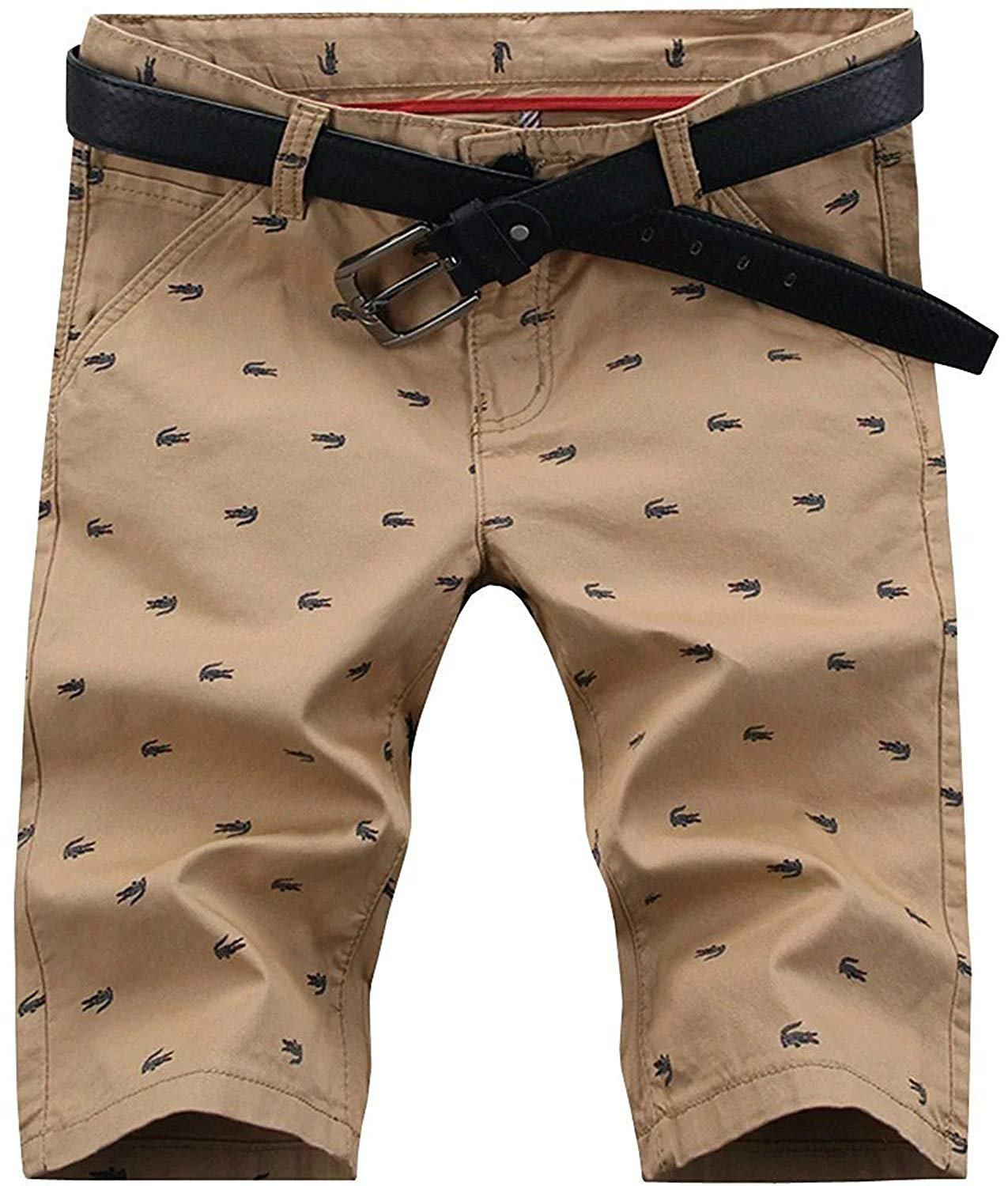 HENGAO Men's Casual Classic Fit Bermuda Chino Flat Front Shorts, Khaki, US 34 = Tag 36 by HENGAO