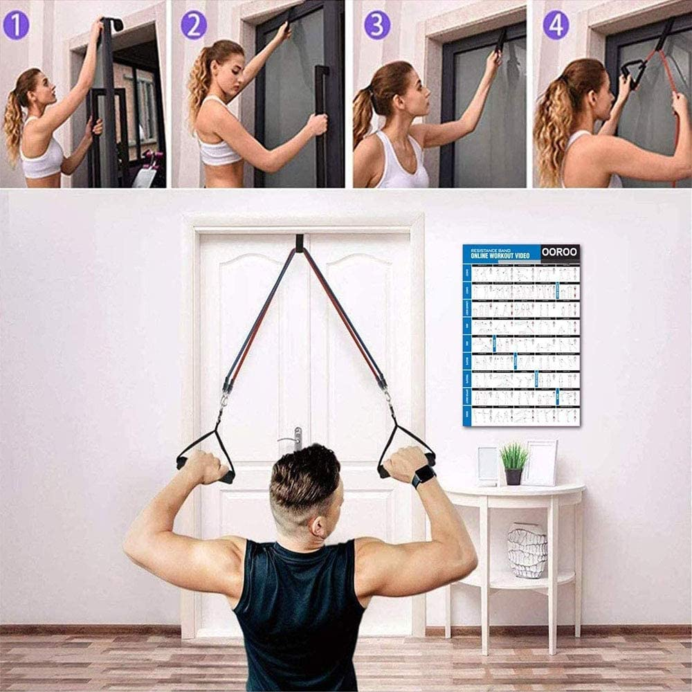 ANDSTON 11Pcs Resistance Bands Set, 5 Stackable Exercise Bands Workout Bands with Door Anchor, 2 Foam Handle, 2 Metal Foot Ring & Carrying Case for Working Out, Physical Therapy, Gym Training, Yoga : Sports & Outdoors