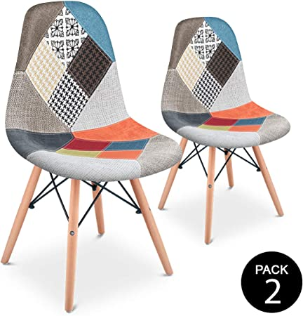 Mc Haus SENA Patchwork - Pack 2 Sillas comedor vintage patchwork ...