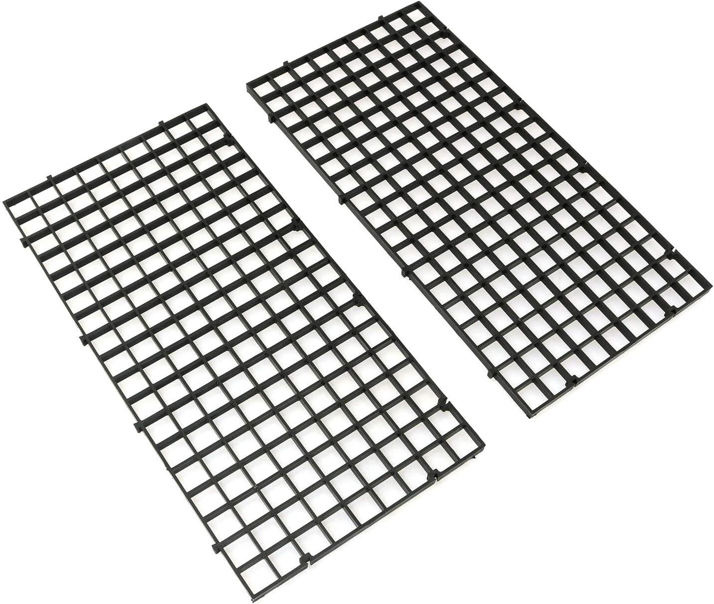 RLECS 2pcs 30cm x 15cm Plastic Grid Divider Tray Egg Crate Louvre Aquarium Fish Tank Bottom Isolation, Black