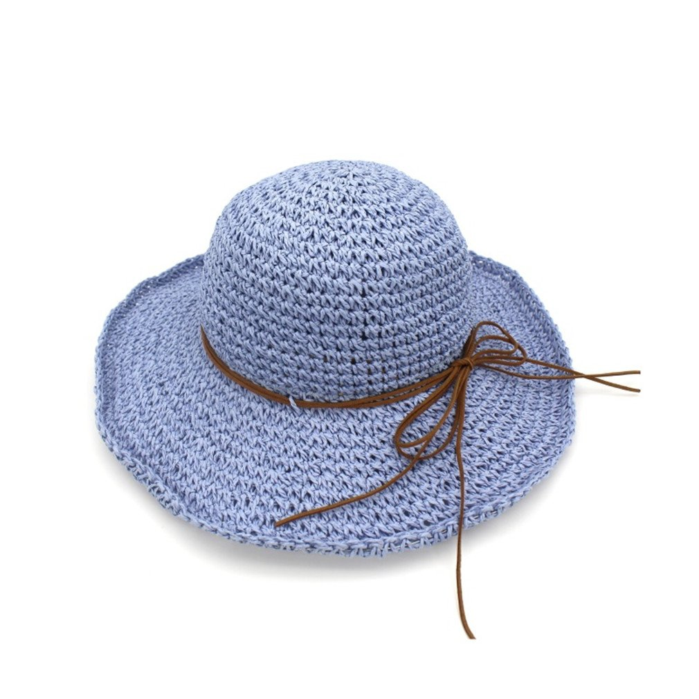 Tuplidsee Bowknot Straw Hats For Women Summer Beach Fashion Sun Hat Floppy Wide Brim Blue
