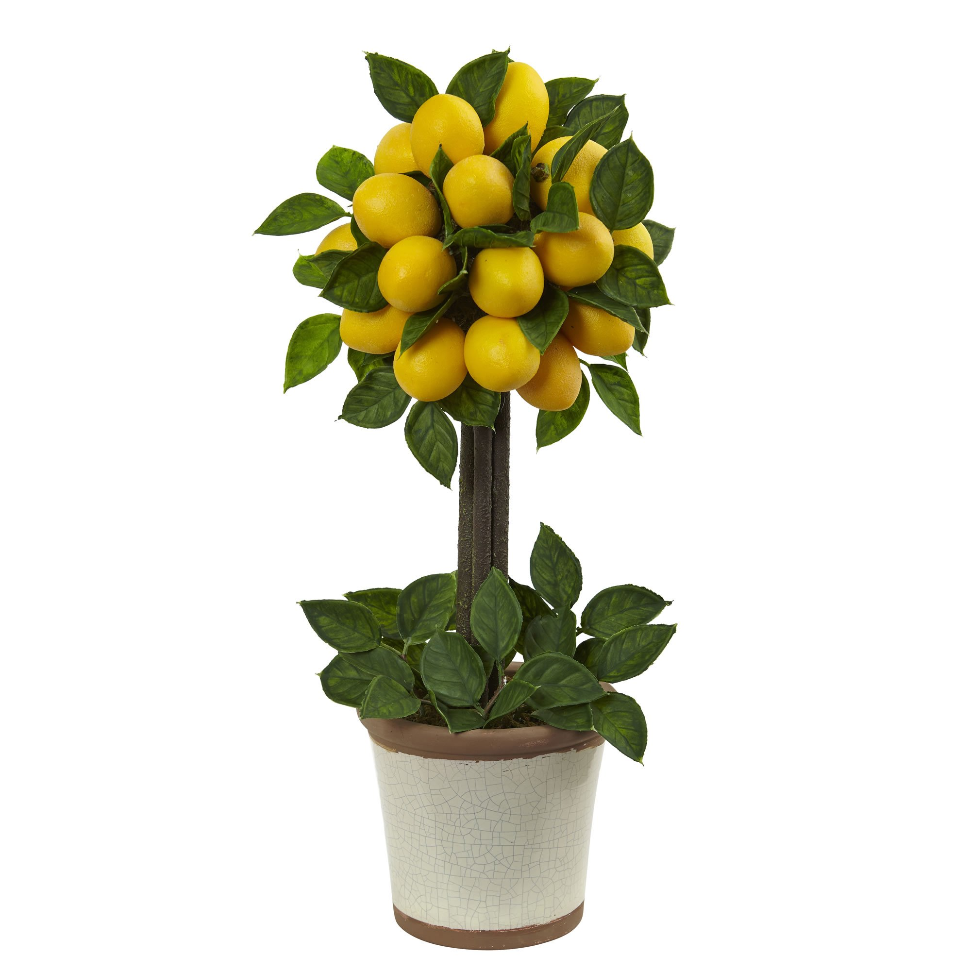 Nearly Natural Lemon Ball Arrangement Topiary, Yellow