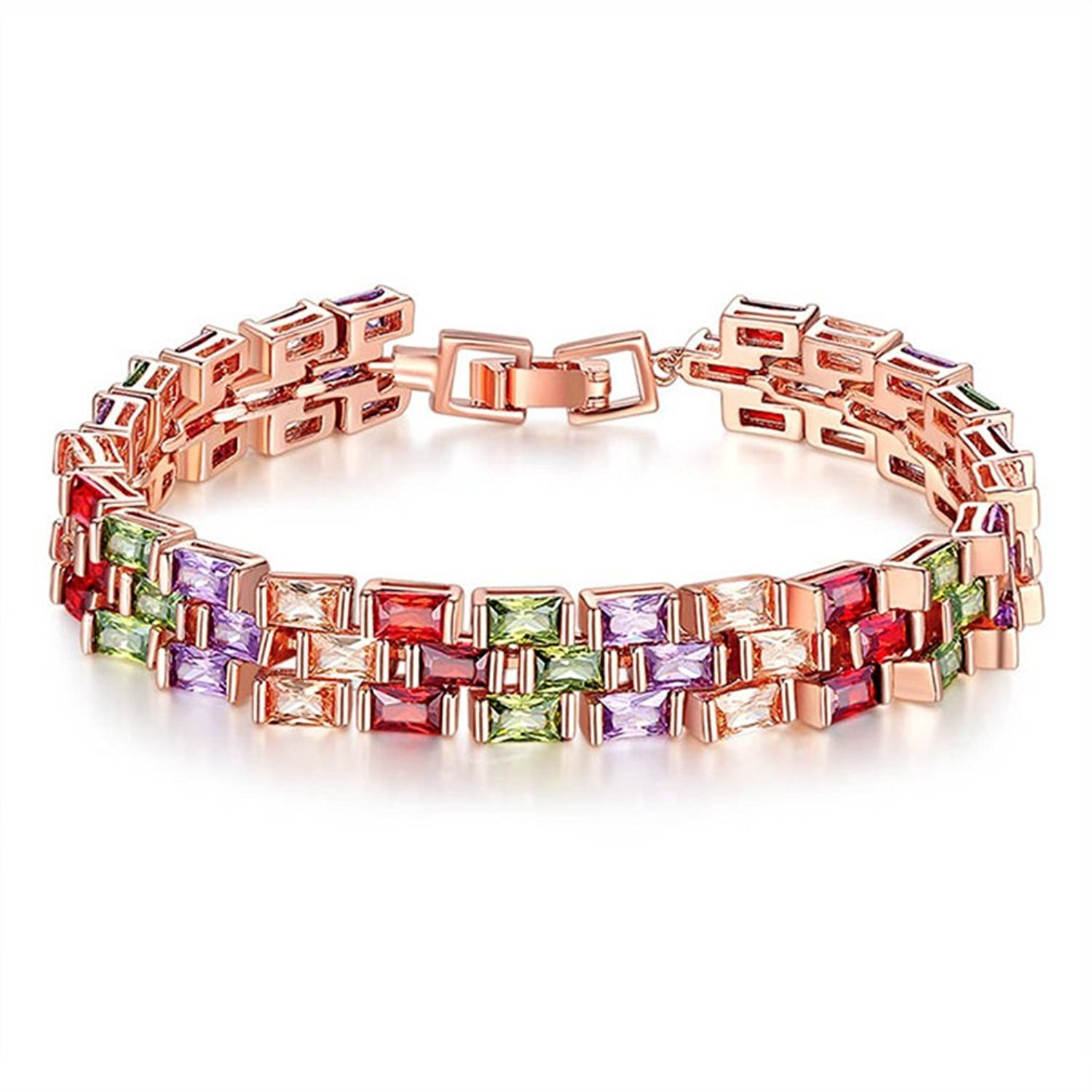 DVANIS Buckle Bracelet Rose Gold Plated Color Cubic Zirconia for Women Girls Party Jewelry