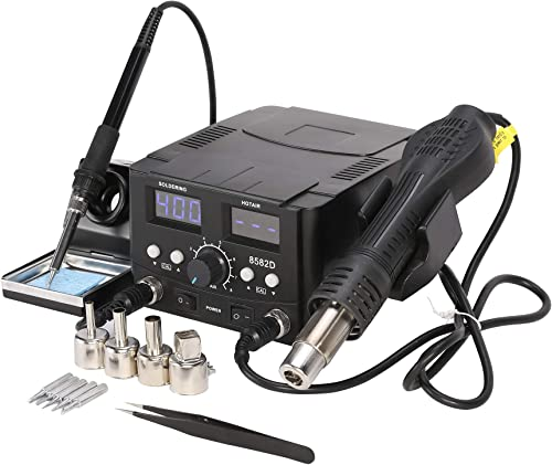 Letra Hot Air Rework Soldering Iron Station, 2 in 1 SMD Digital Solder Station with Heat Gun LED Display