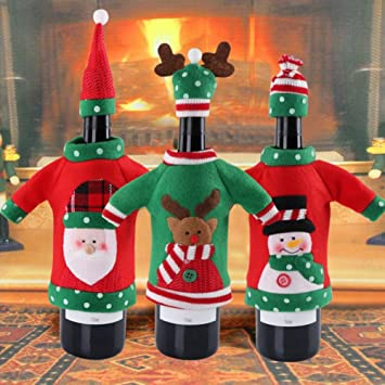 Shineblue 3pcs New Year Decoration Red Wine Bottle Cover Office Ugly