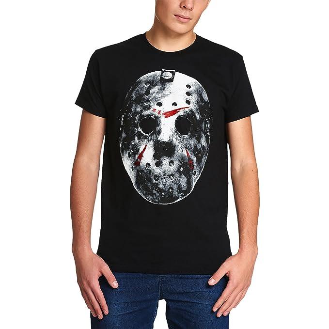 Elbenwald Viernes La Camiseta de los Hombres de 13 Máscara de Jason Voorhees de algodón Negro
