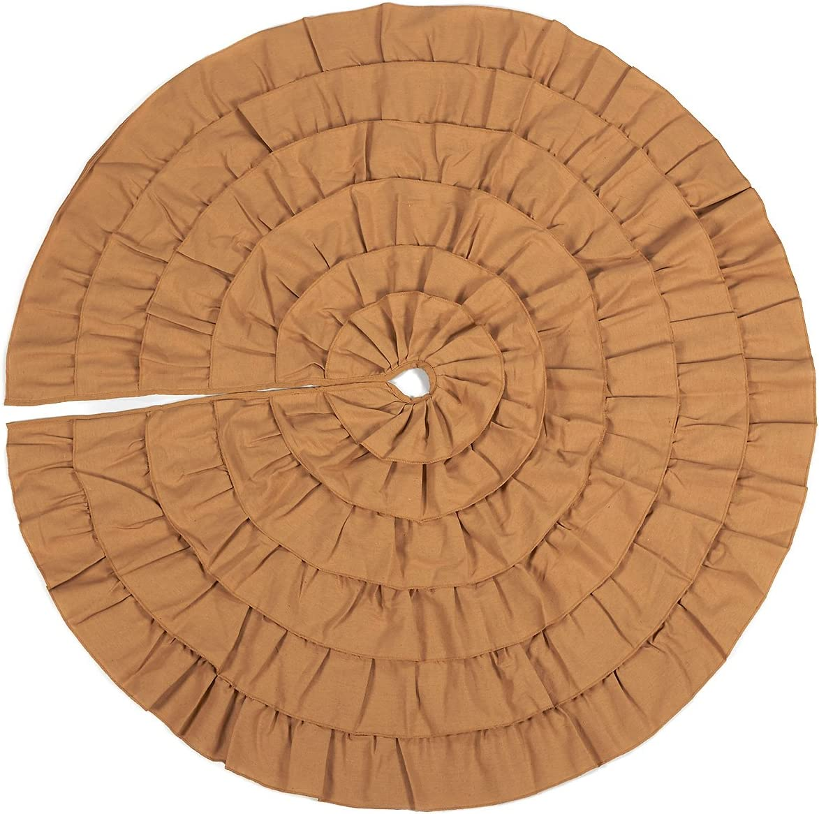 Tan Ruffle Christmas Tree Skirt with Ruffled Trim for Holiday Home Decor (50 in)