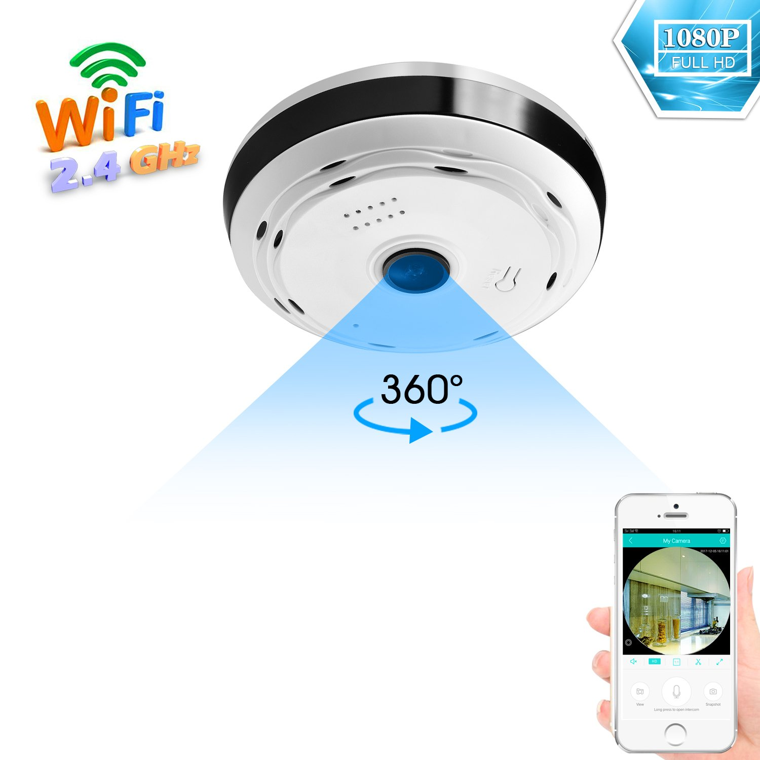 BESDERSEC 360 Degree Panoramic Wifi Camera HD 1080P Security Camera Baby Monitor Home Camera Pet Monitor Two Way Audio Video Camera Remote Viewing Night Vision Motion Detection Wireless Cameras 2.4GHZ
