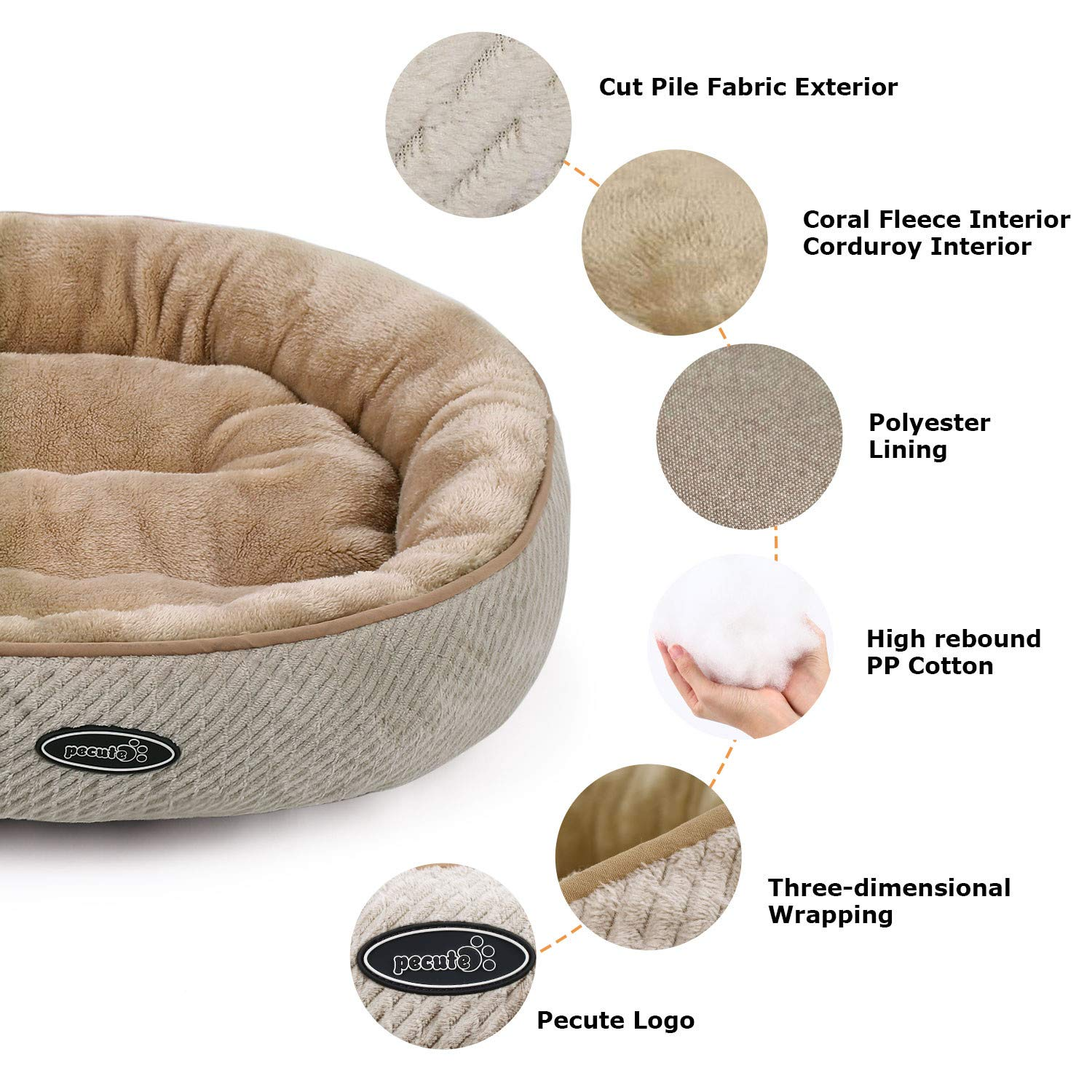 Pecute Cat Bed for Cats and Puppies Oval (50cm)- Machine Washable Plush Padded Soft Comfy (Beige)