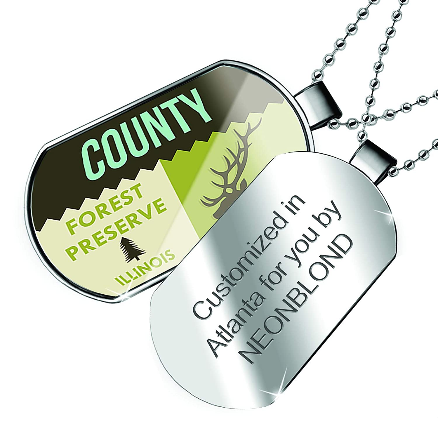 NEONBLOND Personalized Name Engraved National US Forest County Forest Preserve Dogtag Necklace
