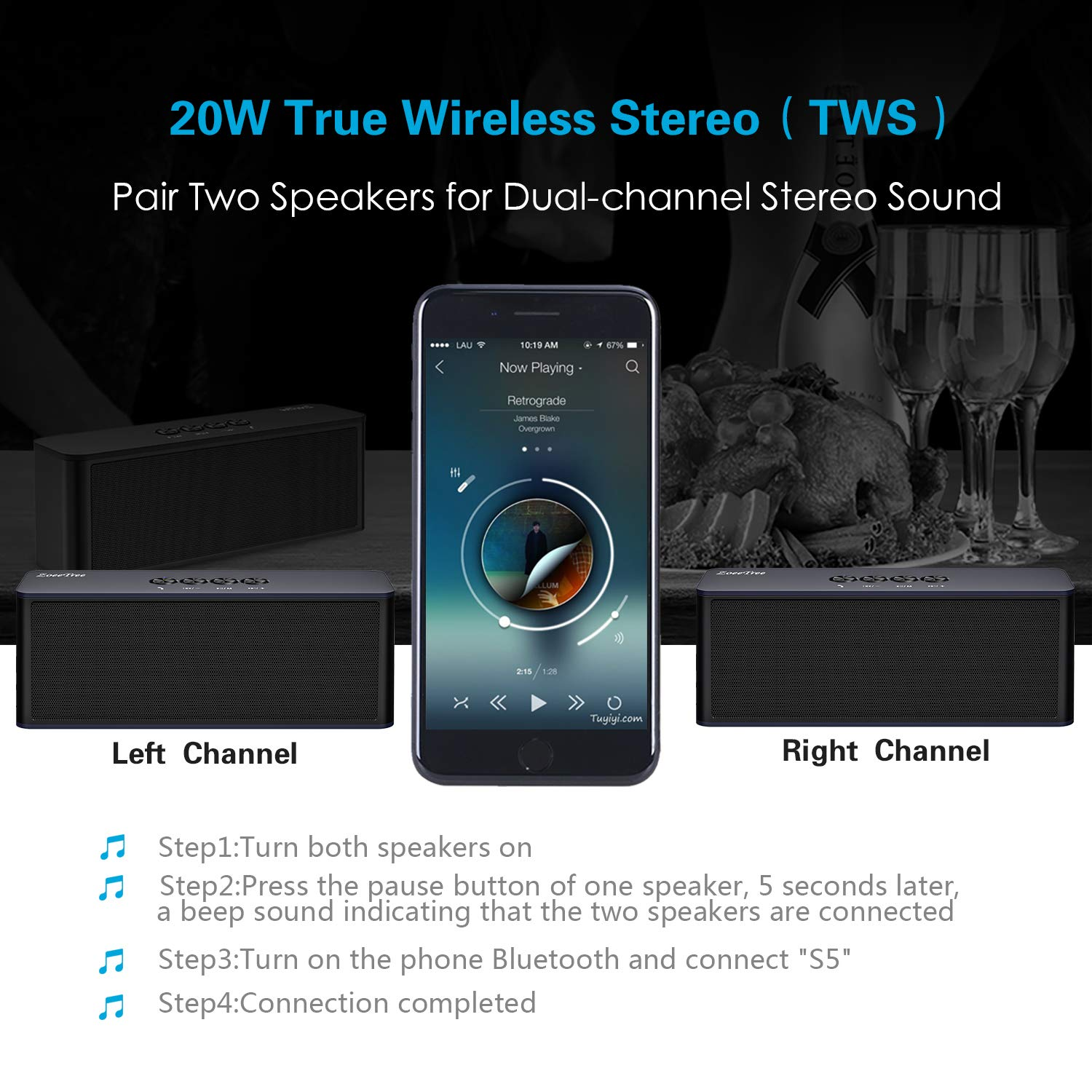 2x5w Stereo Audio Amplifier Based Ta7227 Circuit Diagram Bluetooth Speaker Zoeetree S5 Tws Portable Wireless Speakers With Loud Clear Sound And Rich Bass Perfect Outdoor Built In Mic