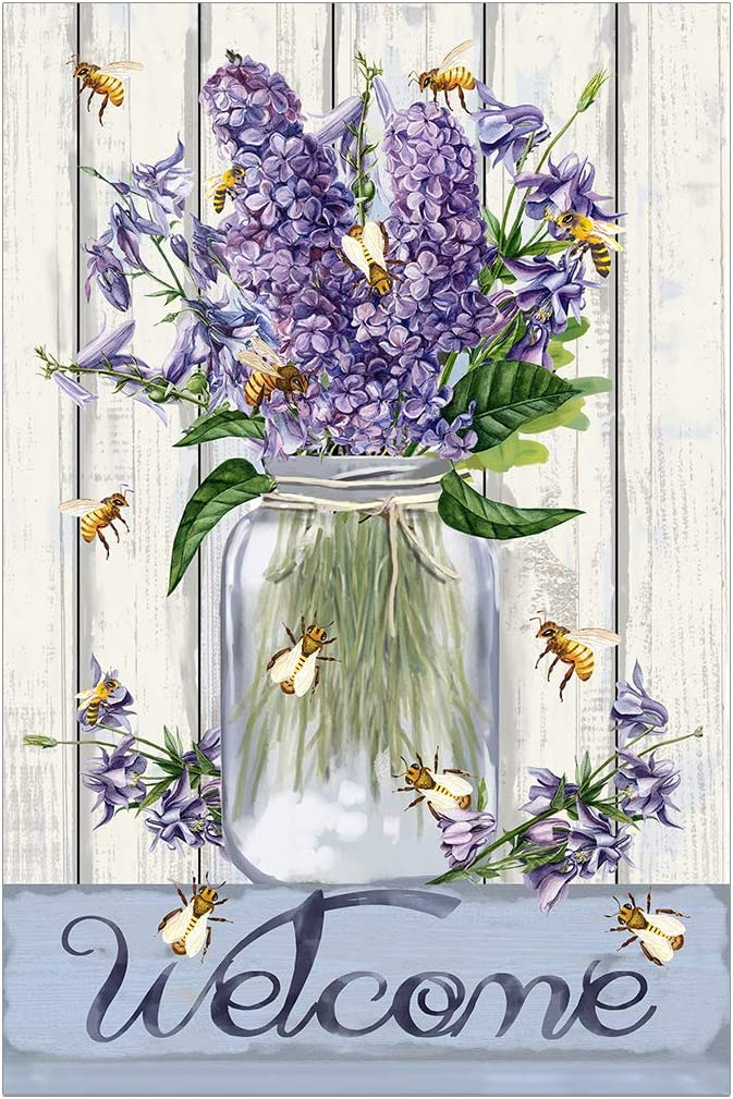 Morigins Bees and Flowers Mason Jar 12.5 x 18 Inch Decorative Welcome Spring Summer Double Sided Garden Flag