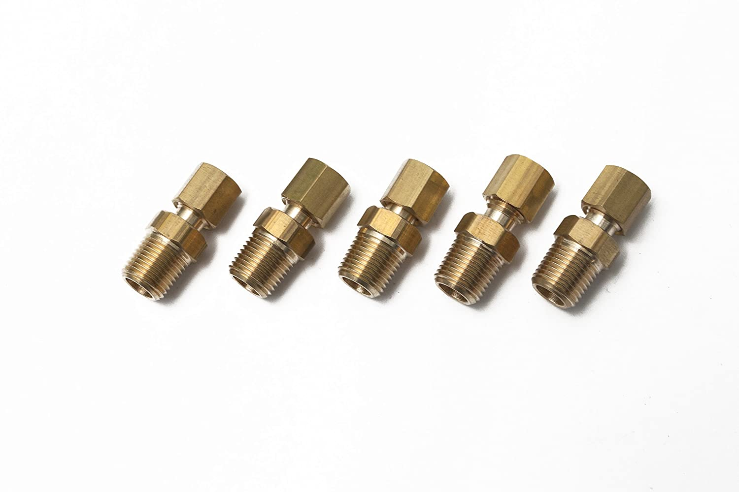 Pack of 5 Generic Brass 1//8 OD x 1//8 Male NPT Compression Connector Fitting