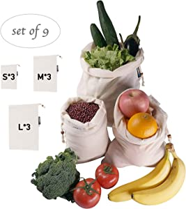 Organic Cotton Eco Friendly bulk Muslin Reusable Produce Bags,Washable,For Grocery Shopping,Toys,Fruit, Vegetable, and Food Refrigerator Storage - Set of 9 (3 Each of S/M/L)