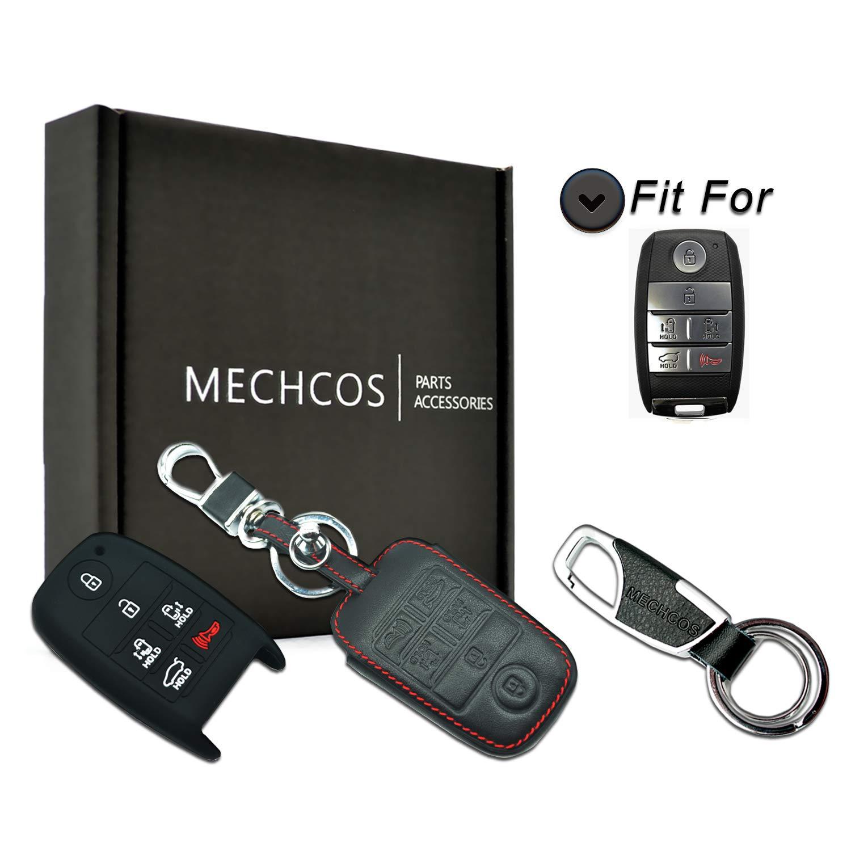 ontto 4 ButtonSmart Car Key Case Shell Holder Metal Keycase Prevent Scratch Fit for Kia Carbon Fiber Texture Black