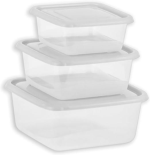 DecorRack - Juego de 3 recipientes cuadrados de almacenamiento de ...