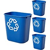 Rubbermaid Commercial Products Deskside Office Wastebasket Trash Can Recycle, 14 Quart, Blue, 4-Pack, 2136357