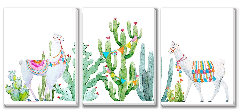 Texture of Dreams Baby Llama Art Prints, Baby Room Design, Canvas Wall Decor, 3-Pack Set (16'' x 20'') by Texture of Dreams