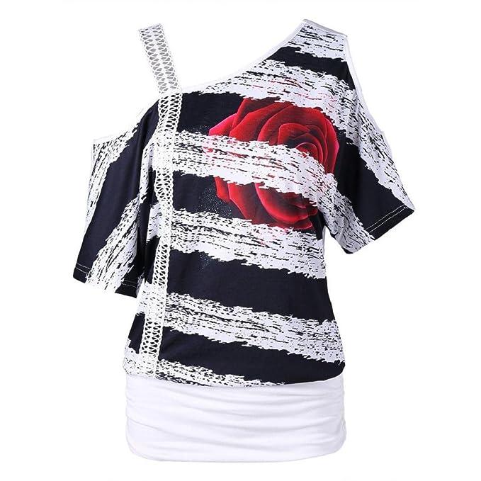e2d1c60a8abe0 HGWXX7 Women s Cold Shoulder Floral Print Short Sleeve Tunic Blouses Shirt  Tops X-Large White