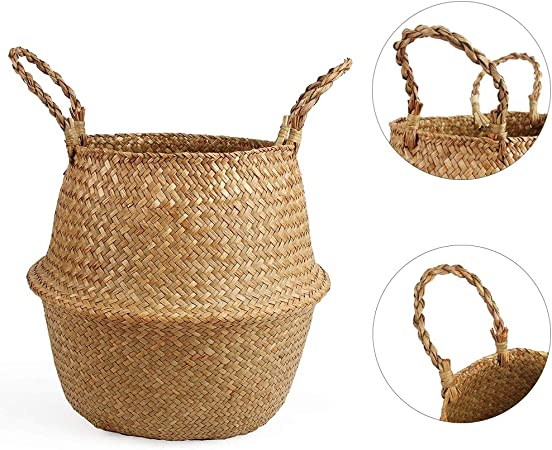 Foldable Laundry Bag Seagrass Belly Basket Storage Plant Pot Room Decor Mother/'s