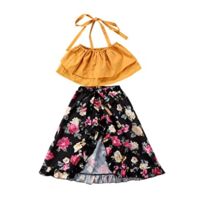 7fb4c887b5ff Aliven Toddler Baby Girls Sisters Match Ruffle Tops + Floral Shorts Skirt  Dress Outfits Clothes Set