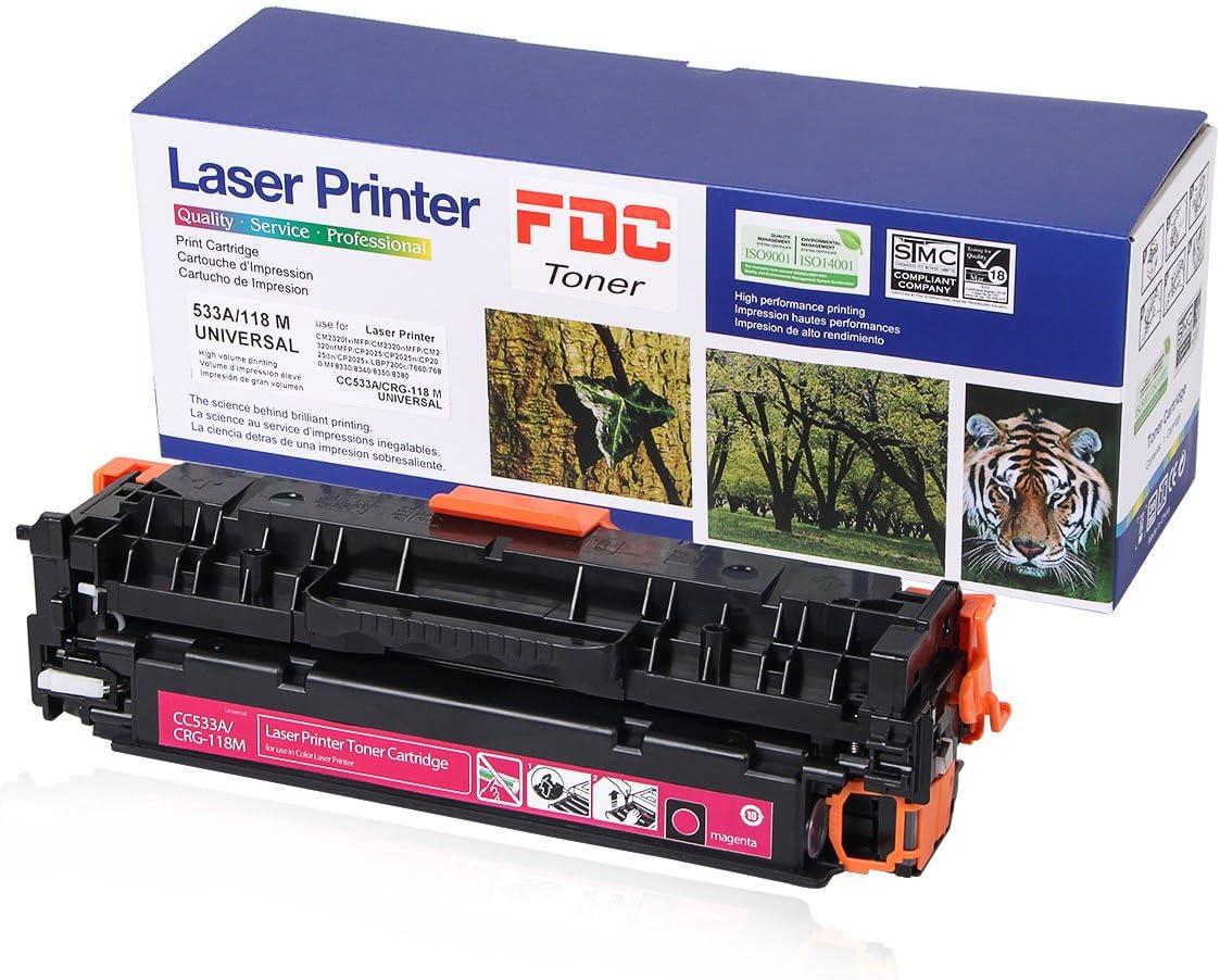 FDC Toner CC533A 304A CRG -118 Toner Compatible for HP Color Laserjet Cp2025dn Cp2025n CP2025x CP2025 Cm2320fxi Cm2320n CM2320nf, Canon ImageCLASS MF726Cdw LBP7660Cdn Toner cartrides (Magenta)