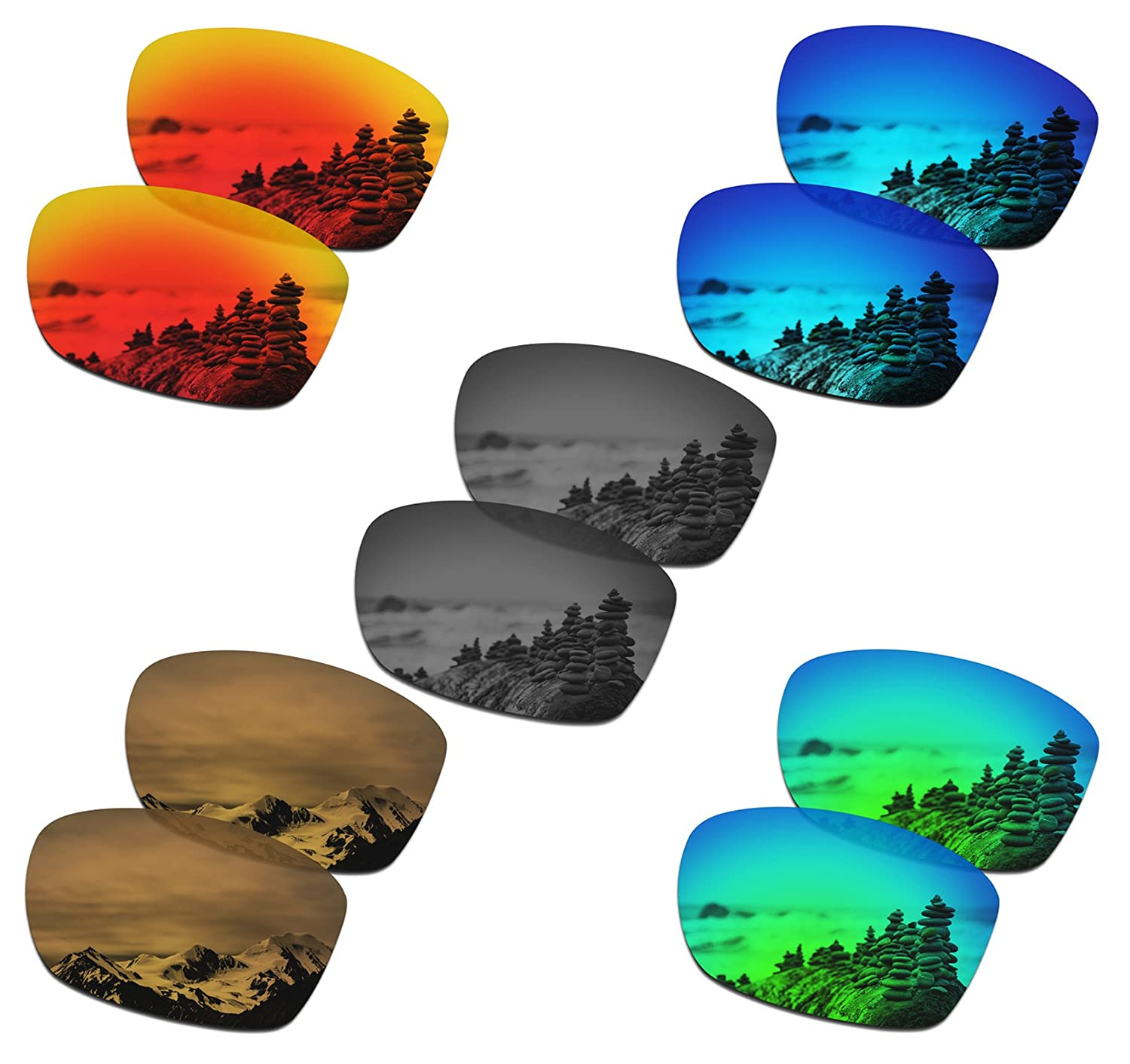 aa8562e8336 Amazon.com  SmartVLT Set of 5 Men s Replacement Lenses for Oakley Jupiter  Squared Sunglass Combo Pack S02  Clothing