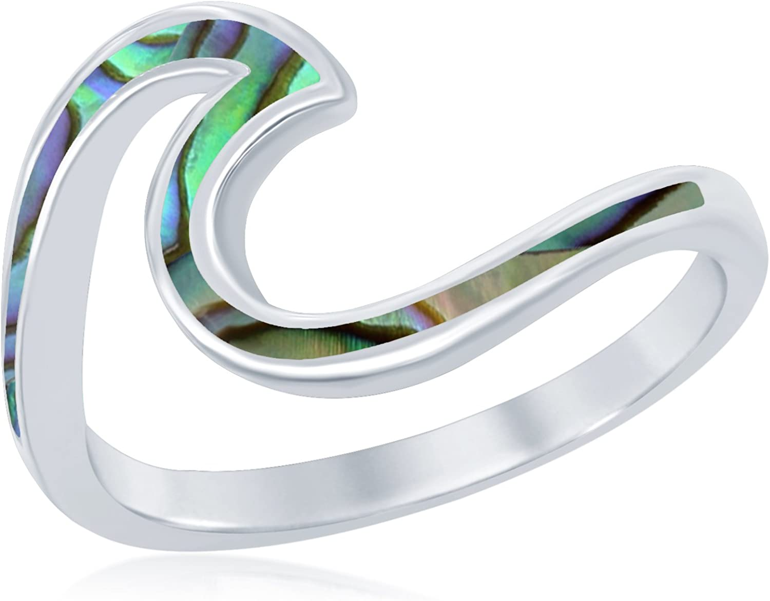 Sterling Silver Abalone Wave Design Ring