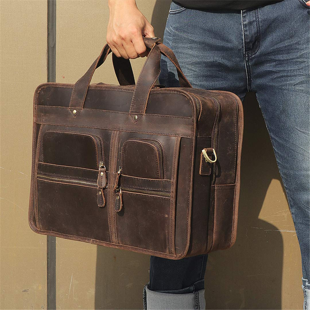 Portfolio Vintage Crazy Horse Male Bag Business Mens Briefcase Attached 17 Inch Laptop Bags Dark Brown dark brown