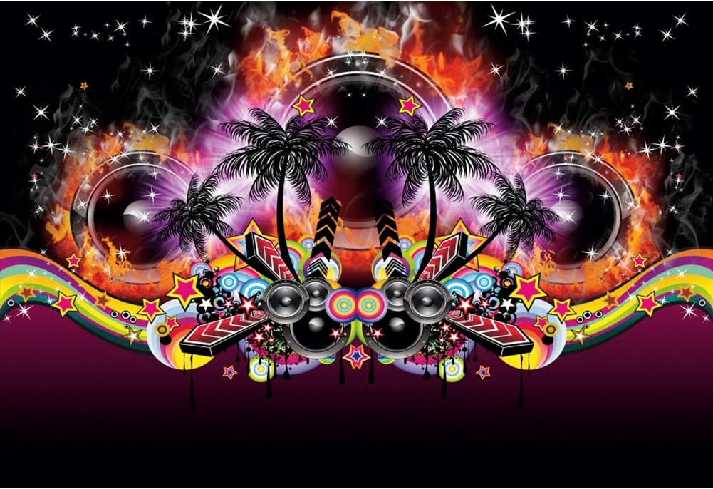 YEELE 10x8ft Disco Party Backdrop Hollywood Summer Sea Beach Dancing Party Photography Background Tropical Carnival Kids Adults Music Show Photobooth Props Digital Wallpaper