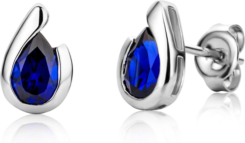MIORE MG9241E - Pendientes para mujer de oro blanco 375 rodiado y zafiro azul con forma de gota