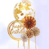 RESTARDS Happy Birthday Cake Topper Acrylic Cupcake Topper, A Series of Gold Paper Fans Confetti Balloon Birthday Cake…