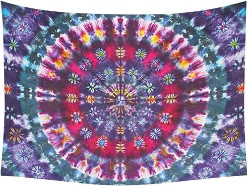 D-Story Custom Wall Tapestry Tie Die Mandala Cotton Linen Tapestry 60x 80