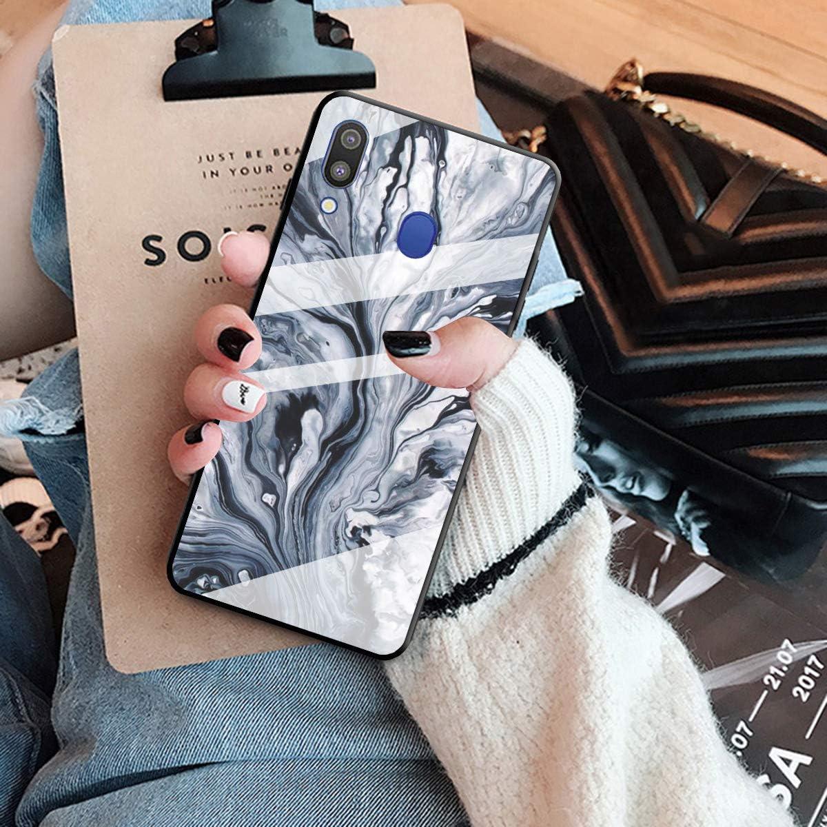 HopMore Silicone Coque pour Samsung Galaxy A40 2019 Souple Motif Marbre Bumper Marble Belle Coque Protection Etui Antichoc Antid/érapant Housse pour Fille Femme Homme Triangle