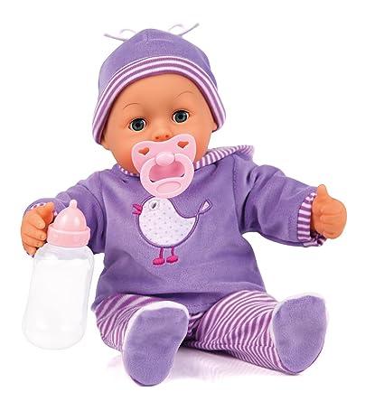 Bayer Design 93817AA Babypuppe First Words mit Schlafaugen, 24 Babylaute, 38 cm, lila/Streifen